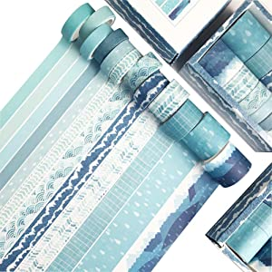 iReaydo Blue Washi Tape Set of 12 Rolls Masking Tapes for DIY Decor, Planners, Scrapbook, Adhesive, Bullet Journal, Gift Wrapping, Arts & Crafts - 4 Sizes: 30/20/15/10mm Wide Skinny and Thin