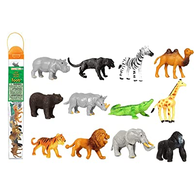 Safari Ltd Wild TOOB With 12 Great Jungle Friends, Including a Giraffe, Brown Bear, Tiger, Camel, Lion, Crocodile, Gorilla, Hippo, Rhino, Zebra, Panther and Elephant (Discontinued by manufacturer): Toys & Games