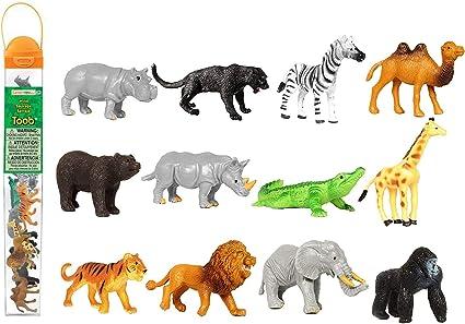 "18 NEW ZOO ANIMALS 2/"" TOY PLAYSET WILD JUNGLE GORILLA ZEBRA TIGER LION SAFARI"