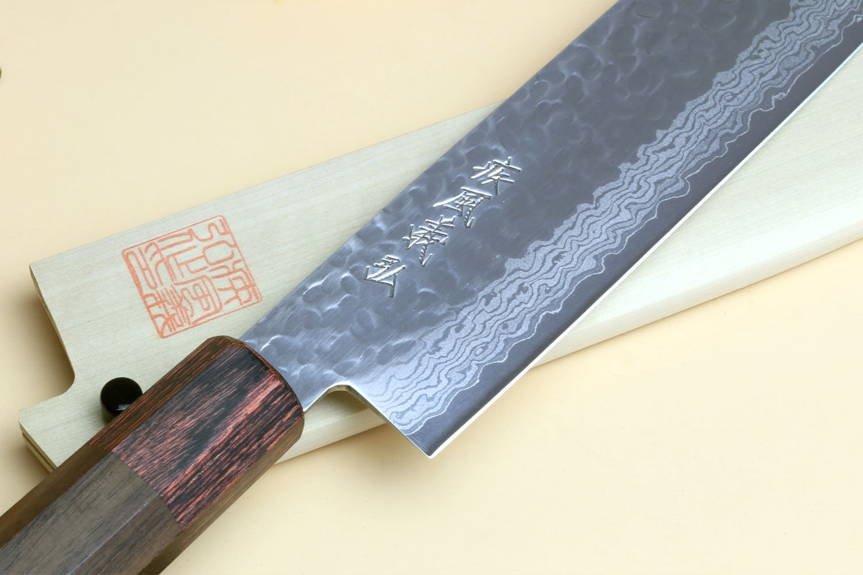 Yoshihiro NSW 46 Layers Hammered Damascus Usuba Vegetable Chef knife 6.3 IN (160mm) Shitan Rosewood Handle with Saya Cover