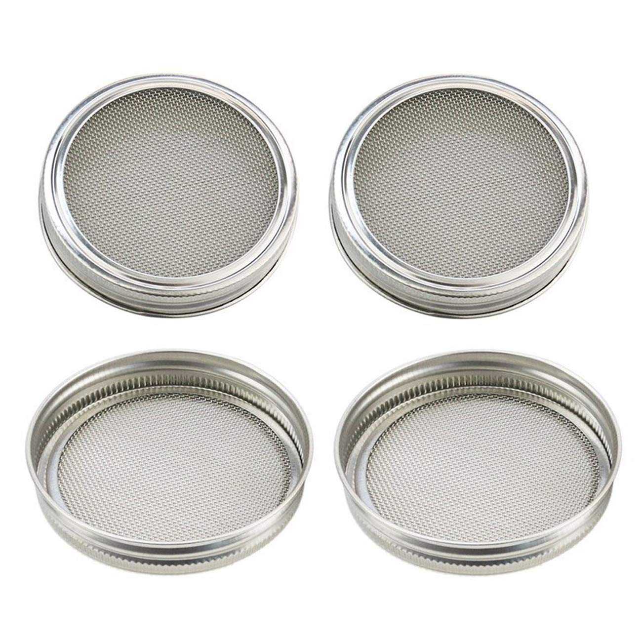 Sunnyglade 4PCS Stainless Steel Sprouting Lids/Sprouting Jar Strainer Lid Fit for Wide Mouth Mason Jars Canning Jars for Making Organic Sprout Seeds (Silver)