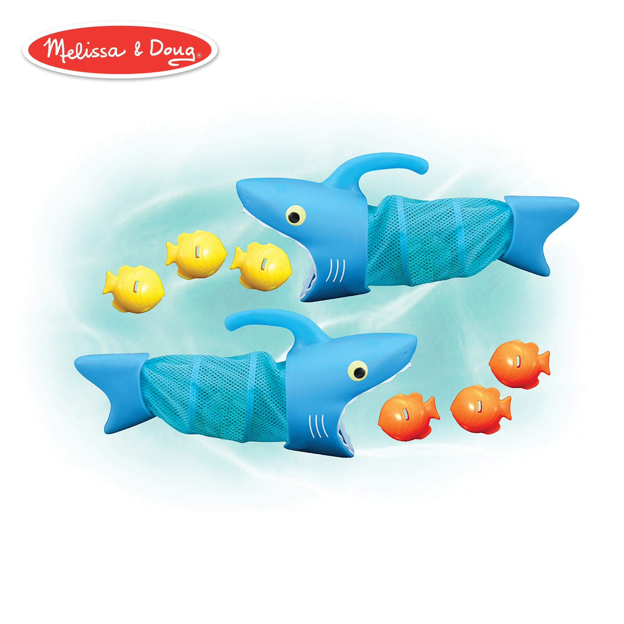 Melissa & Doug Sunny Patch Spark Shark Fish Hunt (Pool Game, 2 Nets, 6 Fish Sinkers  to Catch) by Melissa & Doug