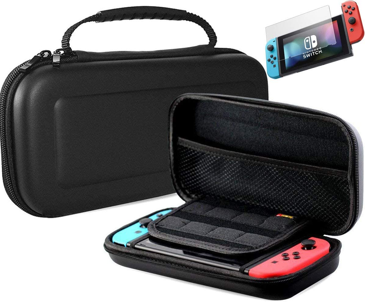 Pokanic - Carrying Case Compatible with Nintendo Switch, Screen Protector Glass Film Hard Shell Portable Travel Pouch with 8 Game Card Holders Protective (Black Case - Screen Protector)