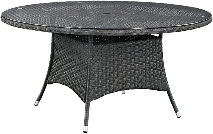 Modway Sojourn Glass Top Patio Dining Table in Chocolate