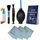Kit di pulizia - Cleaning Kit professionale per fotocamere DSLR ( Canon, Nikon, Pentax, Sony, Samsung ) - include: Pennello per pulizia obiettivi + Pennello per pulizia lenti + Soffietto + Flacone in plastica + 4x Panno di pulizia in microfibra + 50x fogli - carta di pulizia delle lenti