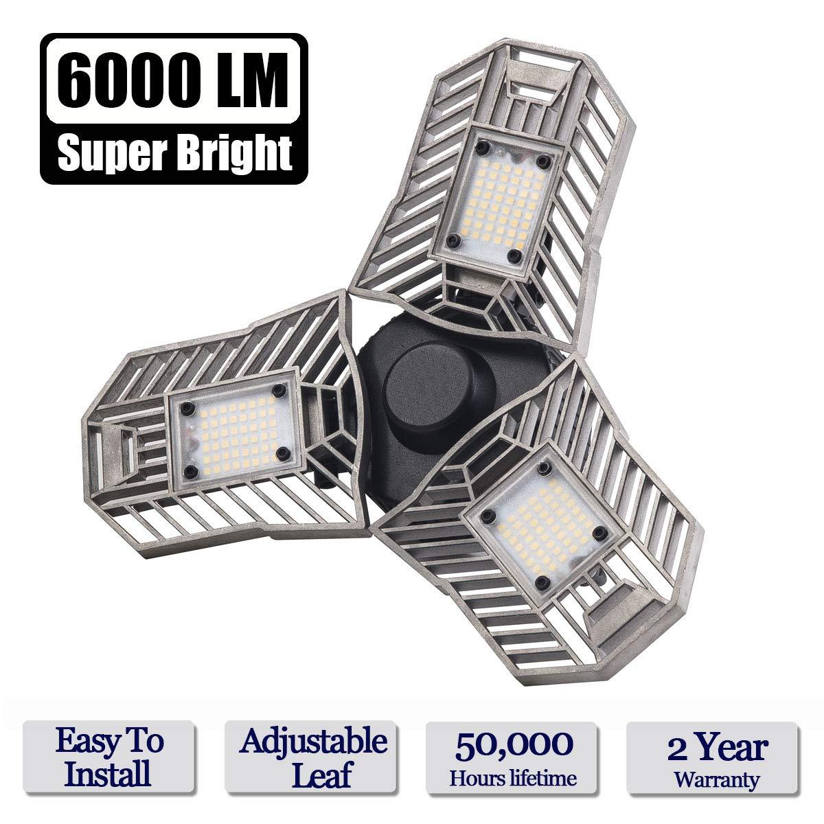 LED Garage Lights, 60W E26/E27 6000LM Deformable Ceiling Lighting for Full Area, LED Light Bulbs for Workshop, barn, Warehouse etc.
