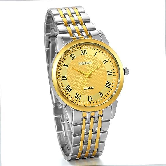 JewelryWe Clásico Relojes De Hombre Caballero, Correa Dorada de Acero Inoxidable, Números Romanos Cuarzo