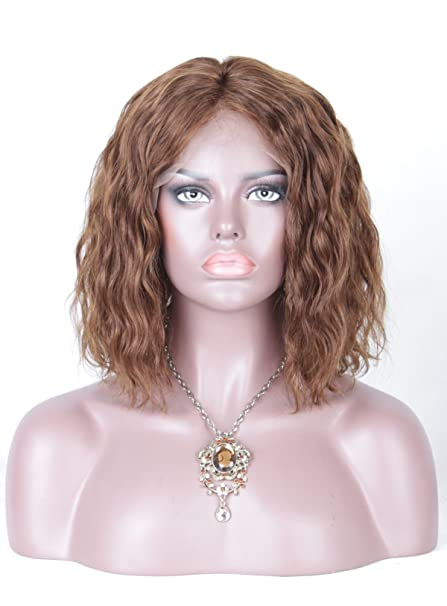 leomi corto Bob ondulado Virgen de Brasil pelo humano Lace Front Peluca Marrón corto Bob peluca