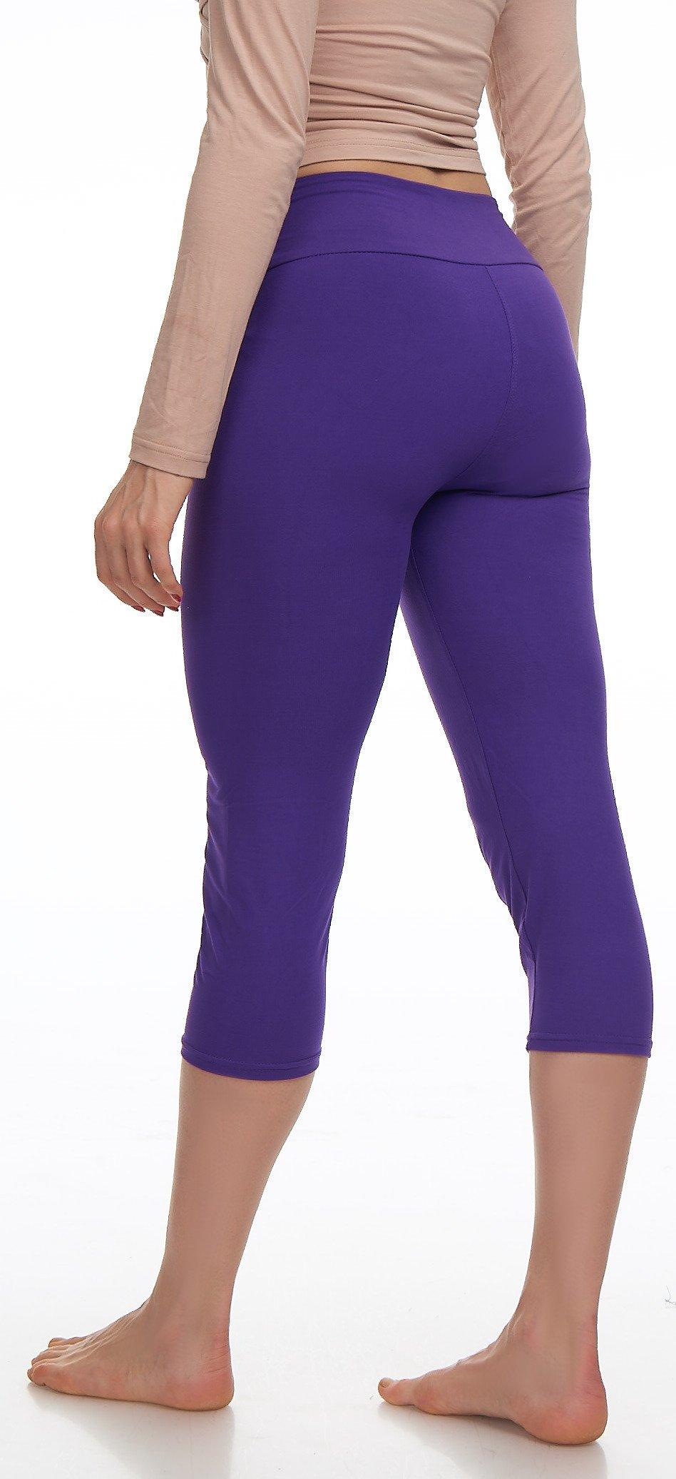 Lush Moda Extra Soft Leggings Variety of ColorsPlus Size Yoga Waist Purple, One Size fits Most (XL 3XL), Purple Yoga Waist by LMB (Image #8)