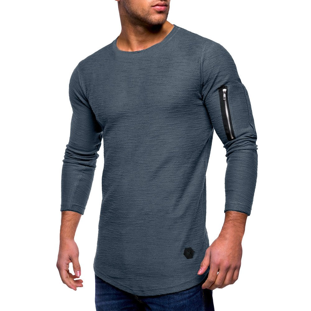 2018 Men's Classic Sleeve Zip Up Basic Solid Sweater Top Fold Round Neck Blouse