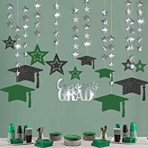 Cheerland Glitter Green Silver 2021 Graduation Party Decoration Kit Black Cap Decor Shiny Congrats Grad Banner Star Hat Garland Streamer Banner Backdrop Background for Ceiling Home Classroom