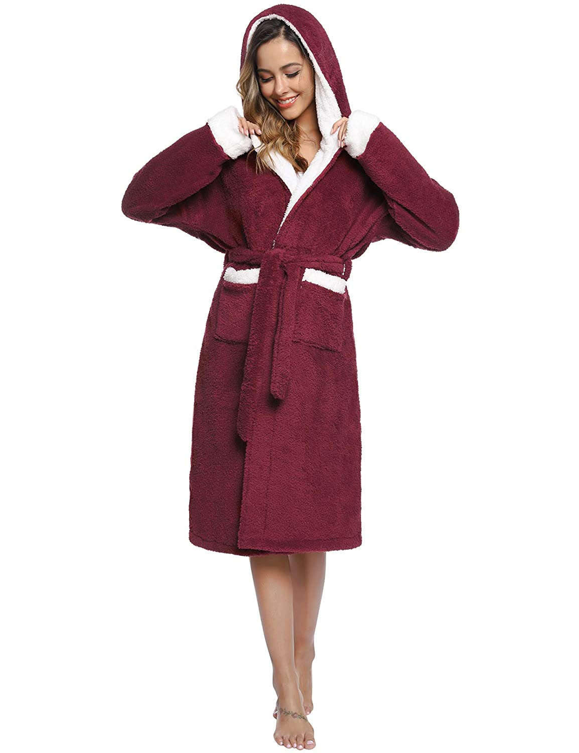 Sykooria Hooded Plush Fleece Robe for Women and Kids Warm Shawl Collar Contrast Color Family Mathing Bathrobe