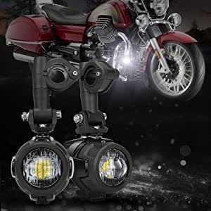 Motorcycle LED Auxiliary Lights Spot Driving Fog Light DRL Compatible with R1200GS F800GS K1600 KTM Fits Universal BMW Honda Harley Bar