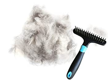Dog rake deshedding dematting brush comb - Undercoat rake for dogs, cats, rabbits, matted, short or long hair coats - Brush for shedding, double row of stainless steel pins - Reduce Shedding by 90%
