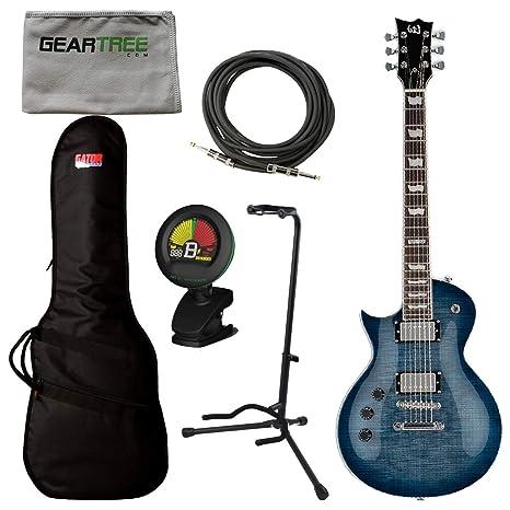 ESP LTD EC-256FM - Guitarra eléctrica (zurdo, azul cobalto) con bolsa