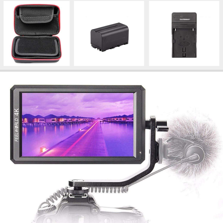 FEELWORLDF6 + Storage Case + F750 Battery + Charger, 5.7'' IPS 4K 1920x1080 Full HD HDMI Video Monitor Kit Compatible DSLR/Mirrorless Camera Zhiyun Crane Feiyu Moza DJI Ronin Gimbal