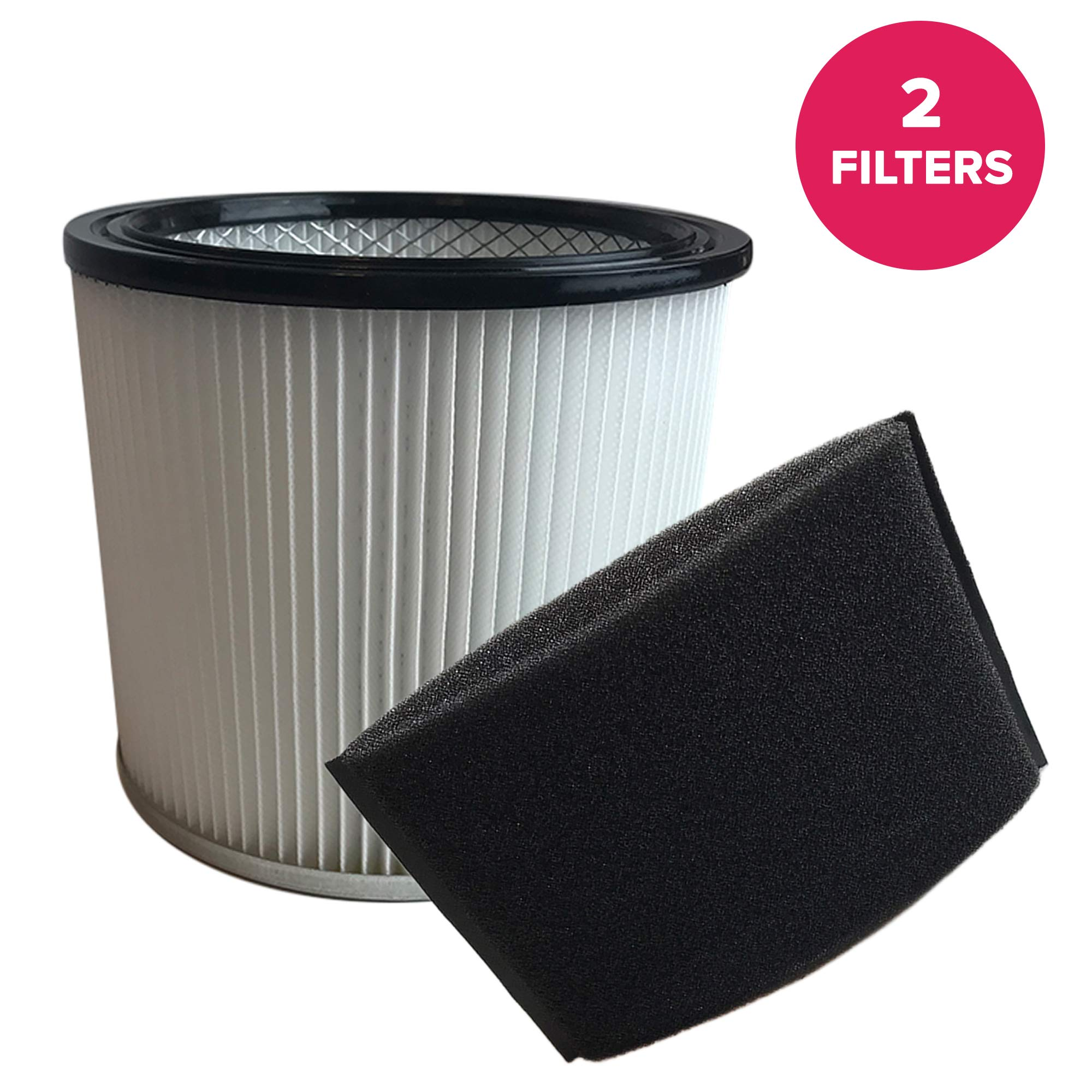 Think Crucial Replacements Cartridge Filter and Foam Sleeve Compatible with Shop-Vac Part 9030400 and 9058500, Fits 5 Gallon and Up Wet and Dry Vacuum - Bulk (2 Pack)
