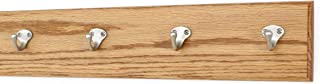"product image for Oak Wall Mounted Coat Rack Singular Style Satin Nickel Hooks 4.5"" Ultra Wide (Golden Oak, 20"" x 4.5"" with 4 Hooks)"