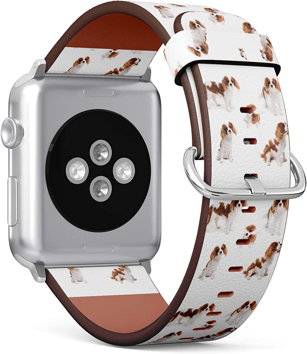 ( Cavalier king charles spaniel dog )Patterned Leather Wristband Strap for Apple Watch Series 4/3/2/1 gen ,Replacement for iWatch 38mm / 40mm bands