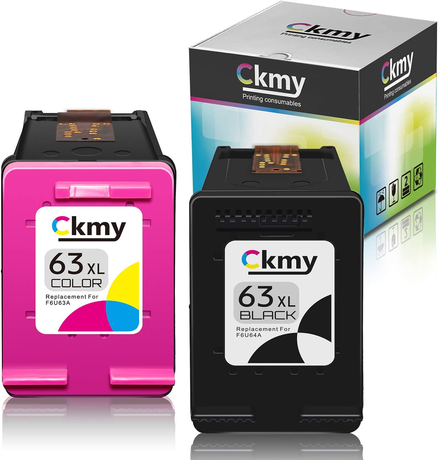 CKMY 63XL Remanufactured Ink Cartridge Replacement for HP 63 XL to Use with OfficeJet 5255 3830 3834 4650 4655 4652 DeskJet 1112 3630 3634 2132 3639 3636 Envy 4520 Printer (Black Tri-Color) 2-Pack