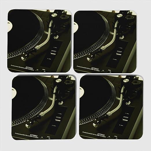 Compra Big Box Art DJ giradiscos Tocadiscos Posavasos, 9 x 9 cm, 4 ...