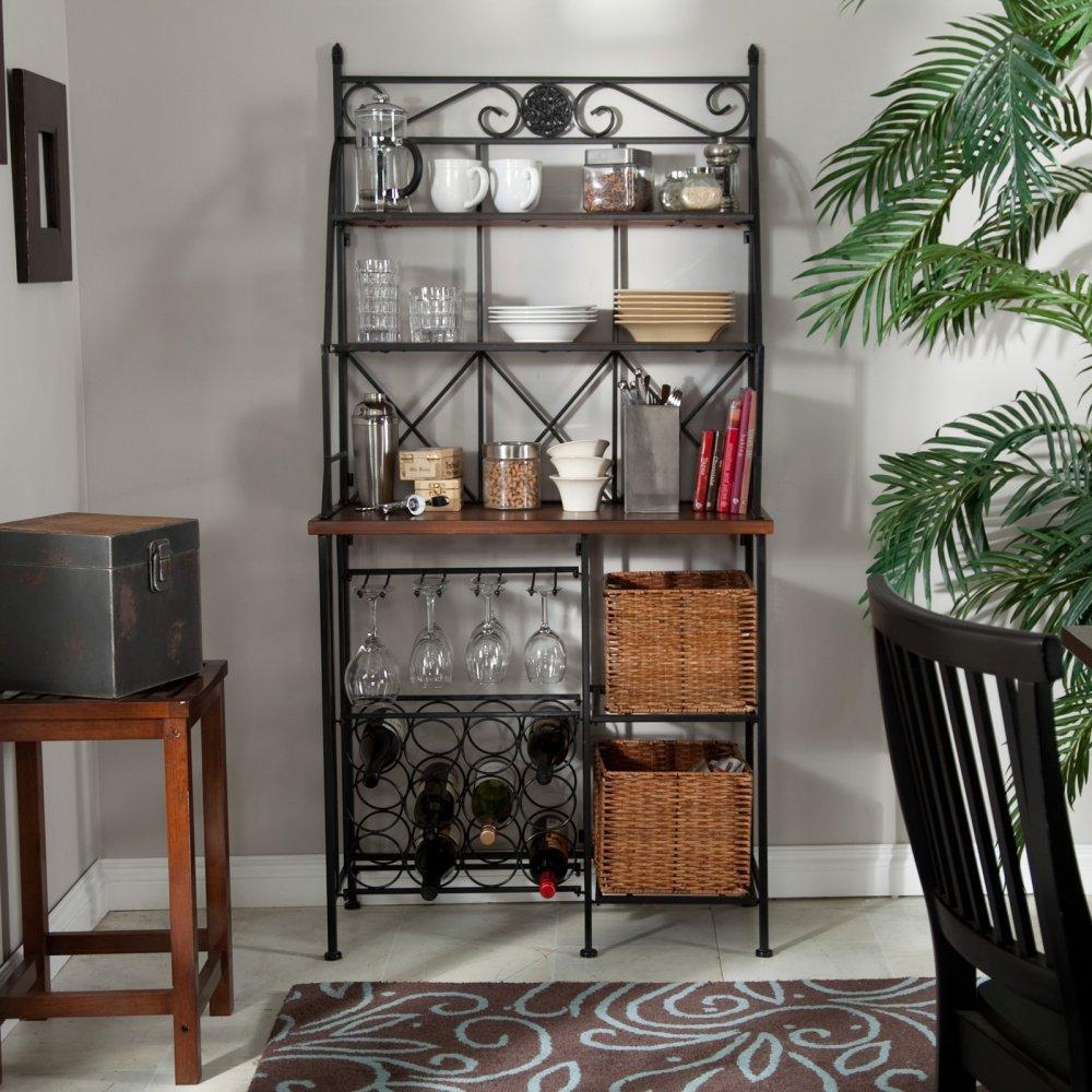 Amazon.com: Belham Living Solano Bakers Rack With Baskets: Kitchen U0026 Dining
