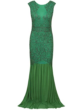Vikoros 1920s Vintage Beaded Full Deco A-Line Maxi Gatsby Evening Prom Dress