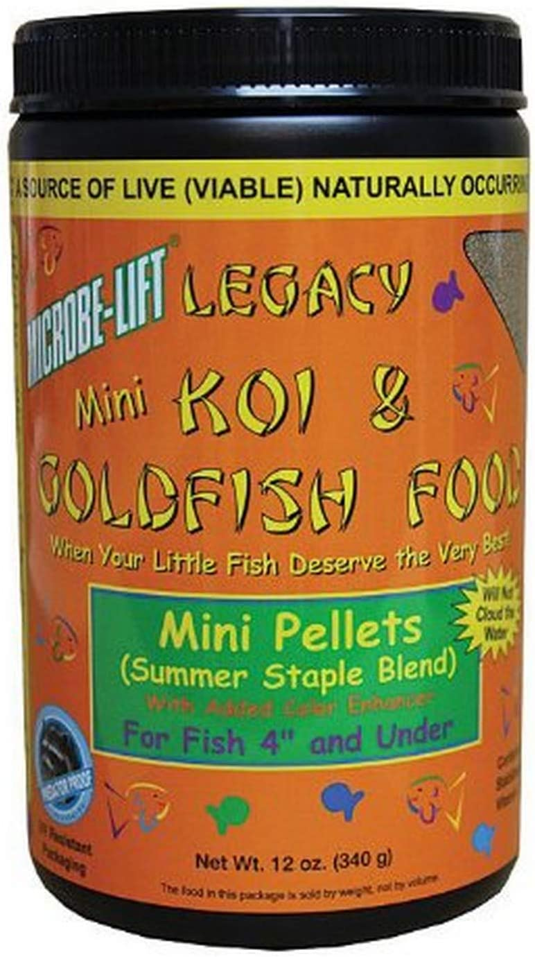 Ecological Labs MLLMPSM Legacy Koi and Goldfish Food Mini Pellets, Summer Staple Blend 12 oz