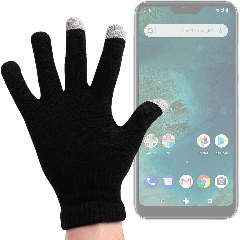 DURAGADGET Guantes Negros para Pantalla Táctil para Smartphone DOOGEE X55, Ulefone S8 Pro, Xiaomi Mi A2 Lite - Talla Mediana - ¡Ideales para El Invierno!