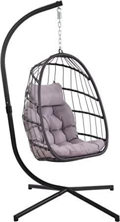 Amazon Com Patio Hanging Egg Chair With Stand Swing Chair Basket