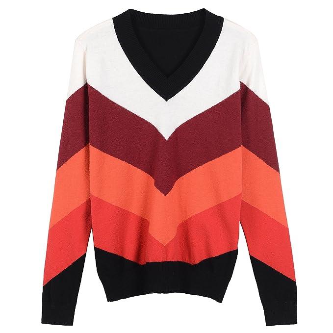VB Jersey de manga larga y cuello alto tejida Bump Color patrón en ...