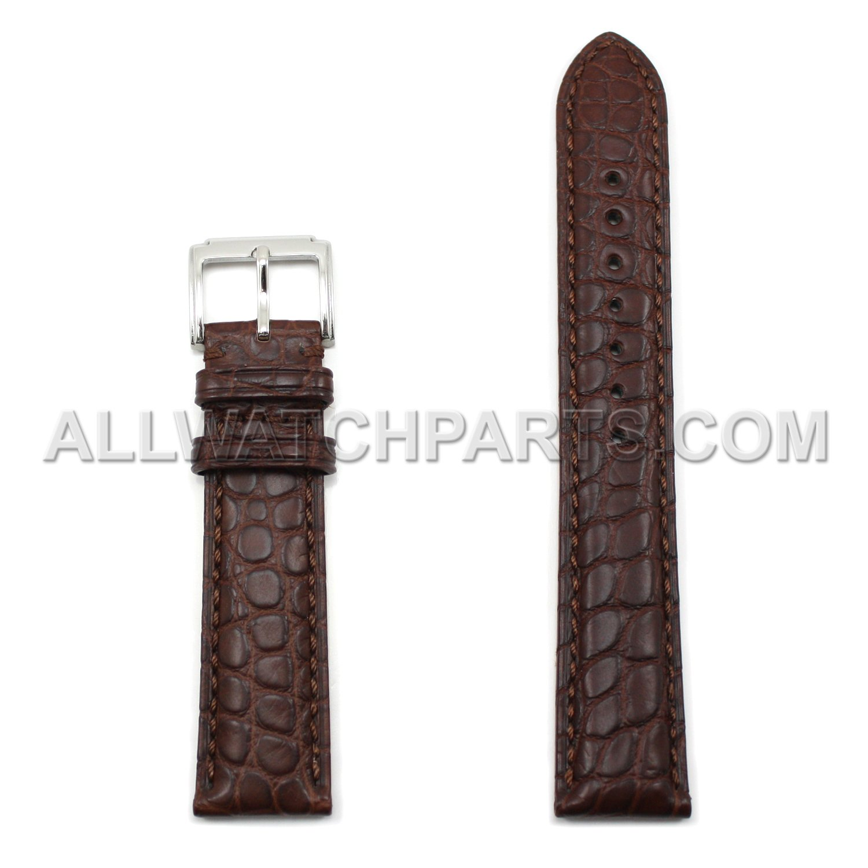 19 mm Brown Genuine Alligator Leather Watch Band  B075LVNSRR