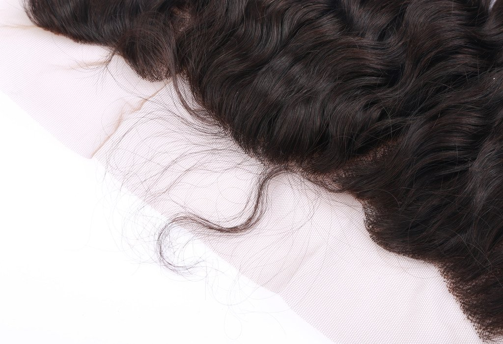 Brazilian Hair Deep Wave Lace Frontal Closure 13x4 Free Part with Baby Hair Bleached Knots Natural Color 12 Inch by HCremy Hair (Image #5)