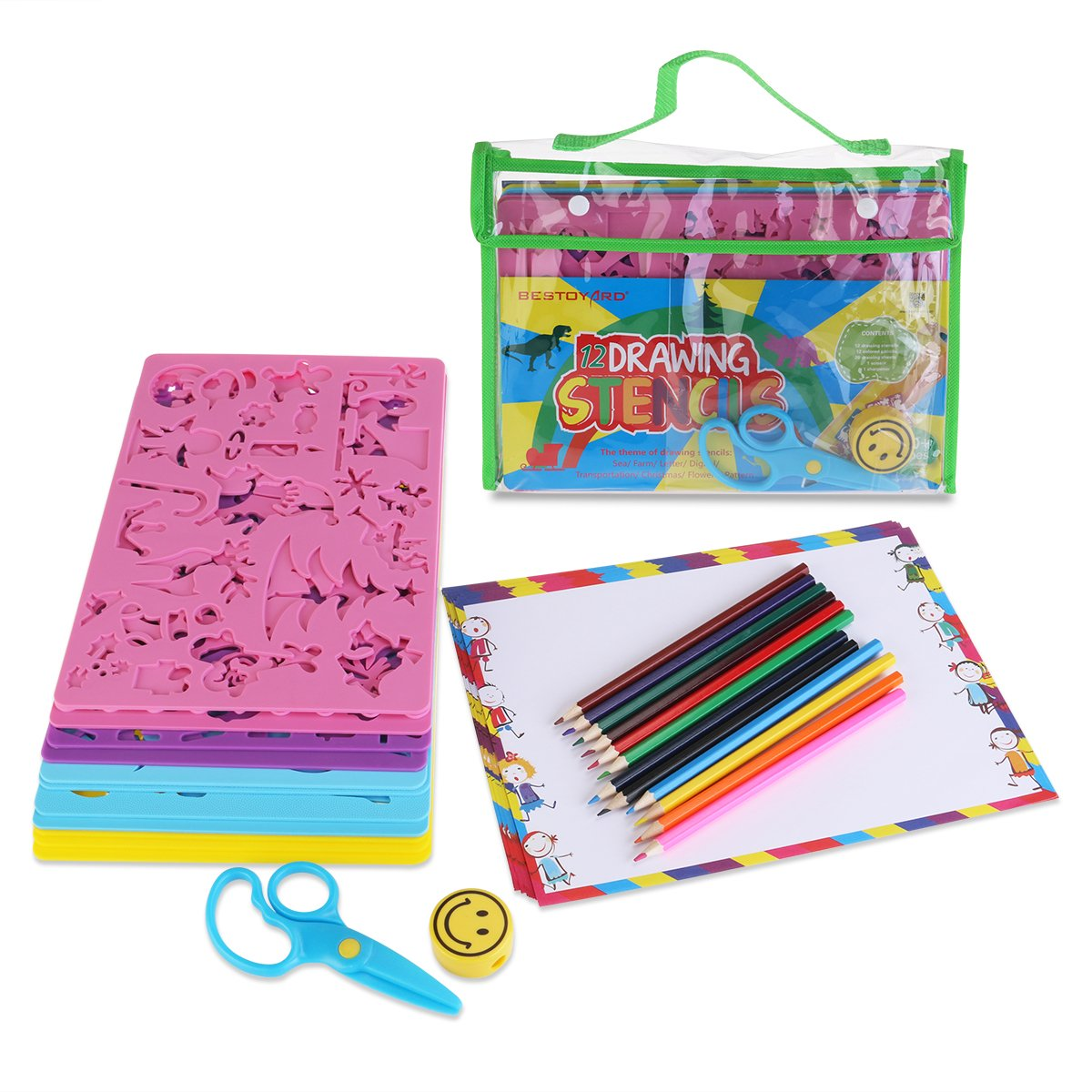 BESTOYARD Drawing Stencils with Assorted Designs Creative Craft ...
