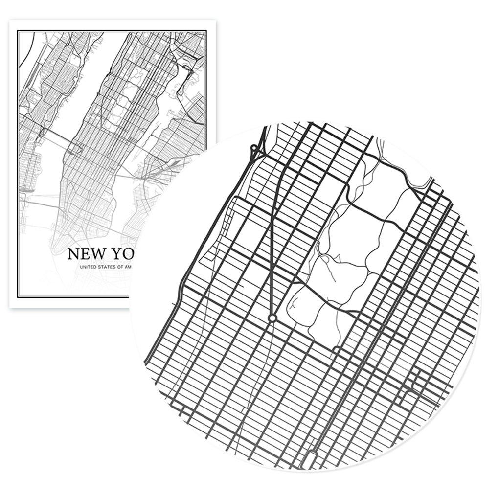 lidahaotin Londres New York, Paris Toile Peinture murale du monde Carte de la ville affiche blanche noire Résumé squelette Huile Unframed Dessin 40 * 50cm et Londres