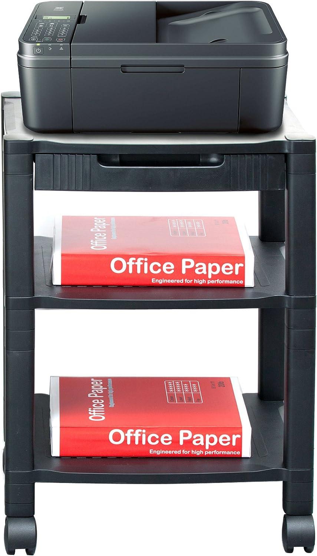 Mind Reader 3-Shelf Printer Cart, Stand with Wheels, Drawer, Cord Management, Black: Home & Kitchen