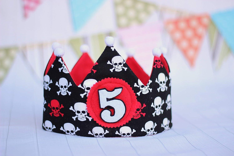 Corona de cumpleaños niño, corona de tela calaveras, cumpleaños pirata.