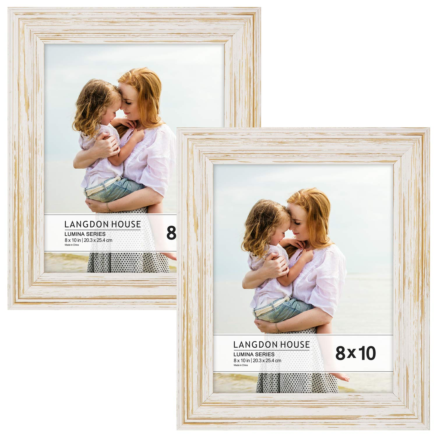 Langdons 8x10 Real Wood Picture Frames (2 Pack, Weathered White - Gold Accents), White Wooden Photo Frame 8 x 10, Wall Mount or Table Top, Set Of 2 Lumina Collection