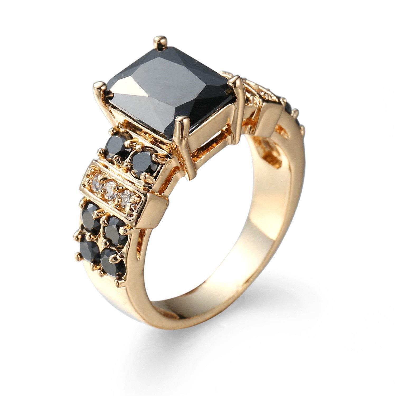 Chewa Shop Handmade Gift Black Onyx White Gemstone Fire Topaz Silver Woman Ring Size 6-10 6