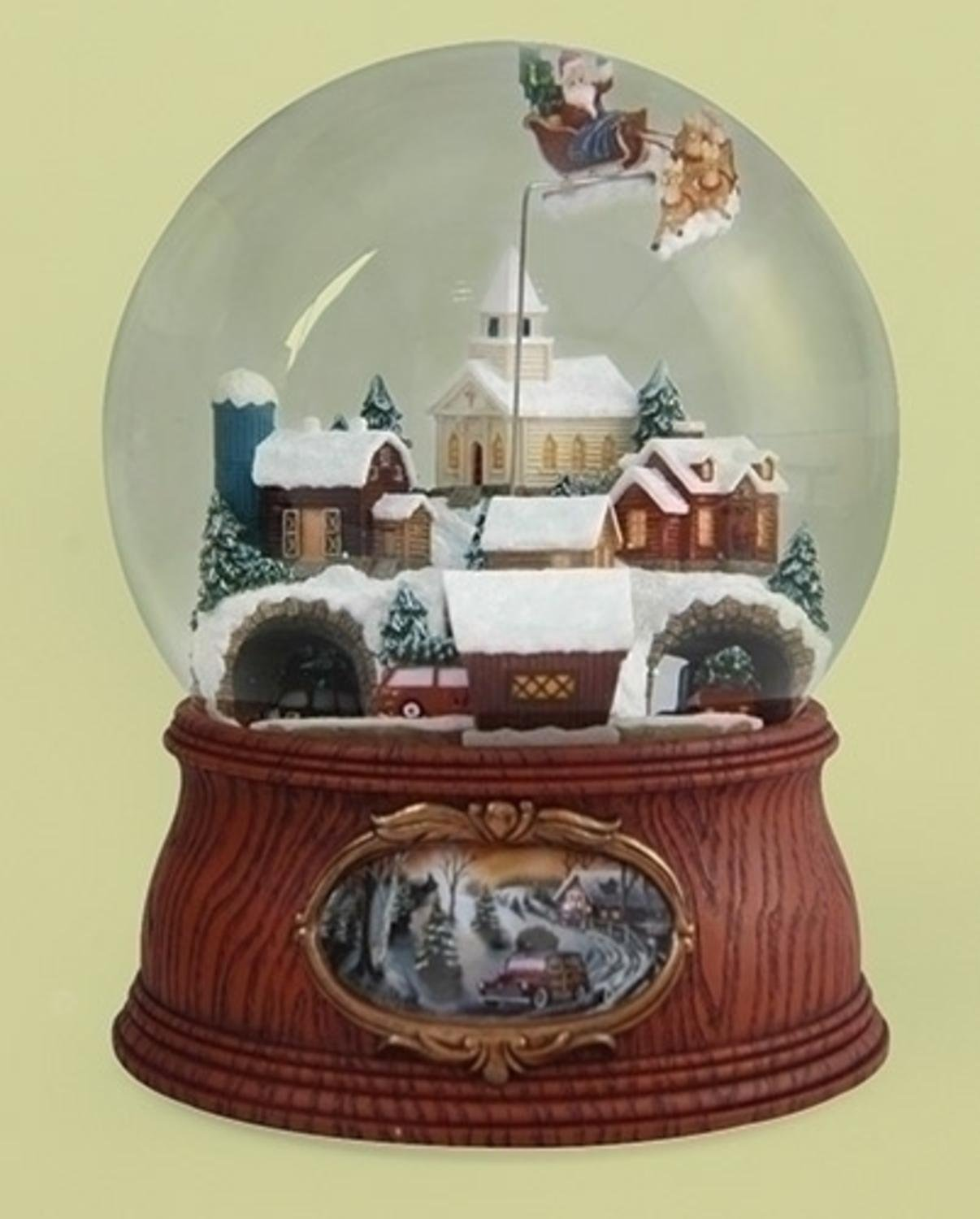 7.5'' Musical Santa Flying Over Town with Rotating Cars Decorative Christmas Glitterdome by Roman