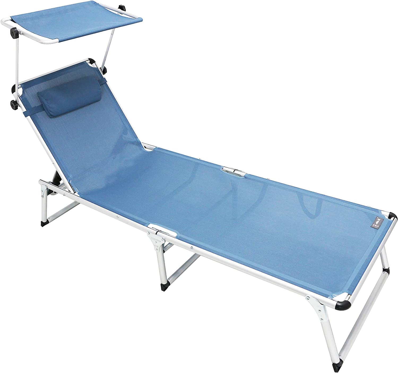 Homecall - Tumbona plegable de aluminio, Azul claro