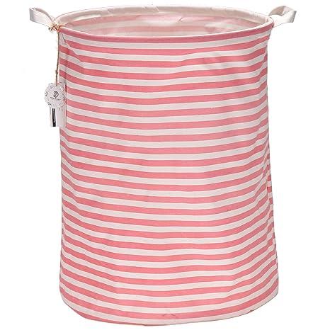 Sea Team Cesto cilíndrico para ropa sucia plegable, de algodón con forro impermeable, en