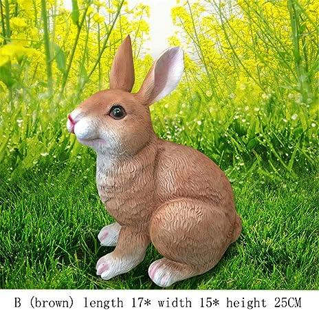 MAATCHH-HGD Decoración en Hierro Fundido Conejos Conejos Adornos de jardín Conejito al Aire Libre a Prueba de Intemperie Decoracion Jardin (Color : Marrón, tamaño : B): Amazon.es: Hogar
