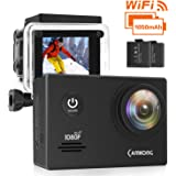 CAMKONG WiFi Action Cam Sport con Custodia Impermeabile Full HD 1080P 14MP 170° Grandangolare 2.0 Pollici 2x1050mAh Batterie e Kit Accessori