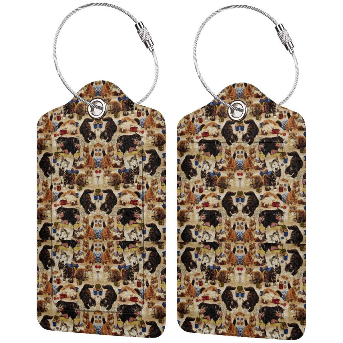 Sew Curious Cats And Sewing Notions Tan Leather Luggage Tags Personalized Privacy Cover With Privacy Flap