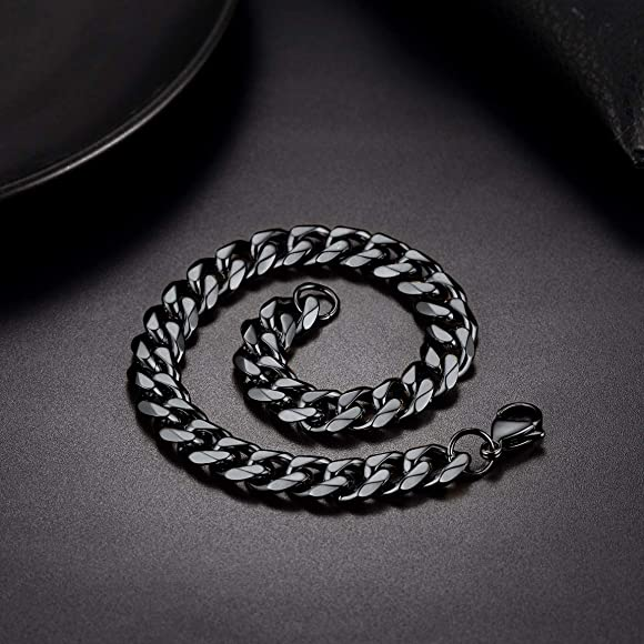 Send Gift Box ChainsPro 3//6//9//12mm Width Unisex Curb Chain Bracelet 21CM,18K Gold Plated//316L Stainless Steel