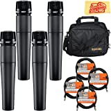 Shure SM57-LC Cardioid Dynamic Instrument Microphone Bundle with Gear Bag, Four Mics, Gearlux XLR Cables, and Austin Bazaar Polishing Cloth