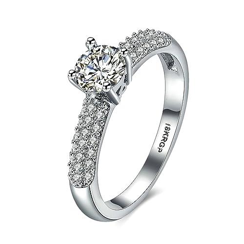 AnazoZ 925 plata chapado en rodio laboratorio creado diamantes redondos compromiso anillos de boda para las
