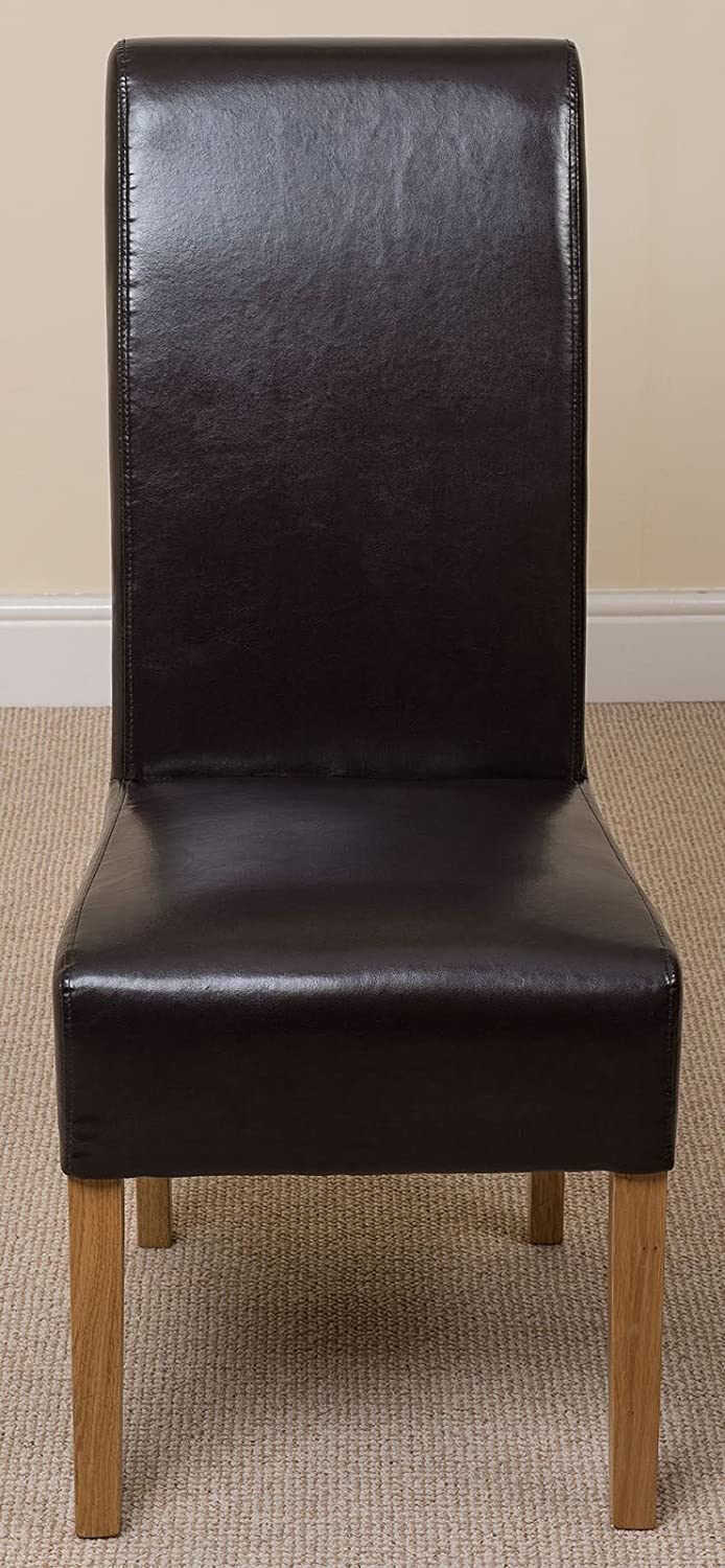 Oak Furniture King X4 Montana Scroll Back Leather Dining Chairs (Brown)
