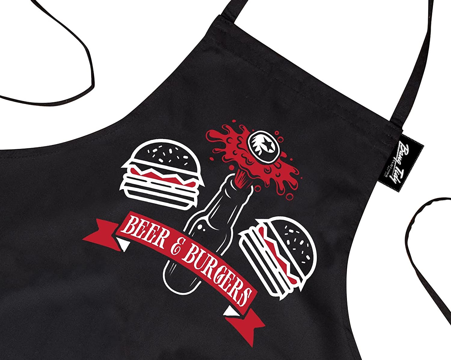 Funny BBQ Apron Novelty Aprons Cooking Gifts for Men Beer & Burgers Black One Size FD4057P1